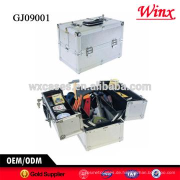 2015 China hard Case-Toolbox, Aluminium-Werkzeugkoffer mit 4 Kunststoff-Schalen im Inneren