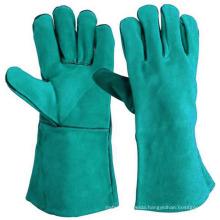 Cow Split Welding Green Leather Working Gloves