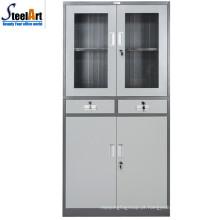 2018 hot sale luoyang fábrica de vidro de duas portas de escritório usado armário de aço