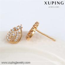 92471 Xuping elegante pendiente de stud de piedra blanca de oro 18k al por mayor