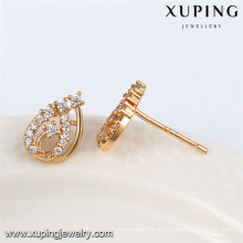 92471 Xuping fancy wholesale 18k gold plated white stone stud earring