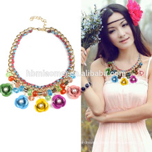 2017 Iron flower crystal necklace new arrival boho large natural turquoise stone squash blossom statement silver necklace