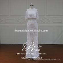 XF16095 diseño más nuevo del vestido de boda del diseño del hombro con el vestido nupcial de lujo de la envoltura que rebordea para las mujeres