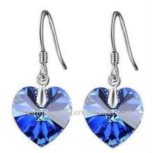 Moda coração em forma de brincos de cristal azul para mulheres SE-001A