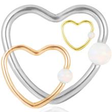 Pendiente del anillo del aro de la nariz de Daith de la forma del corazón del ópalo sintético Titanium popular