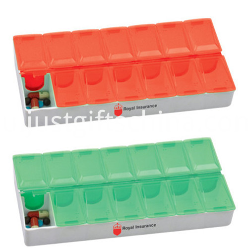 Promotional 7 Days Rectangular Logo Pill Box