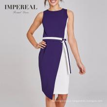 Knee Length Pencil Color Block Women Work Daily Wear Asymmetrical Dress