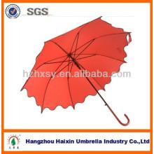 Guarda-chuva vermelho reto com armação de metal e plástico alça 2013 moda auto