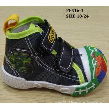 Mais recente adorável sapatos de injeção sapatos de lona de bebê sapatos infantis (ff516-1)