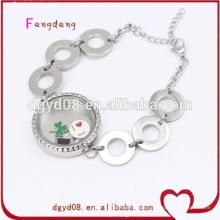 Acier inoxydable charme médaillon bracelets bijoux chaîne bracelet en gros