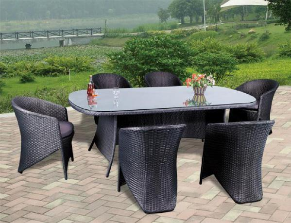 Garden Rattan Bistro Dining Chair Oval Table