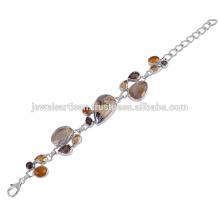 Beautiful Schelm Blend And Multi Gemstone 925 Sterling Silver Bracelet Jewelry