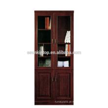 Prateleira de madeira ajustável de arquivo / livro prateleira de porta de vidro de venda quente MDF + acabamento de papel (T8812)