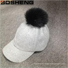 White Pompom Cap Women′s Warm Wool Baseball Cap