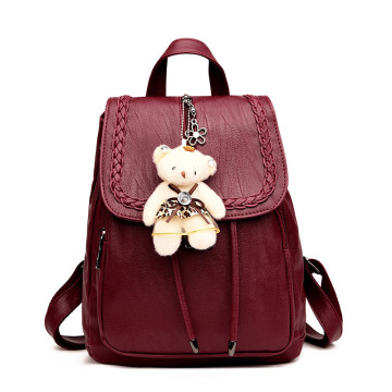 Mulit-function travel leather double shoulder lady bags
