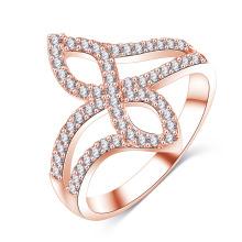 Bague de mariage en or rose 18 carats avec incrustation (CRI01020)