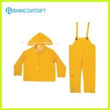 Yellow Color PVC Polyester 3PCS Men′s Rainsuit
