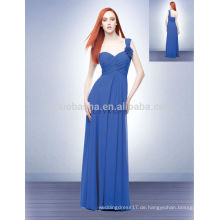 2014 Blue One-Schulter Lange Reich Brautjungfer Kleid Schatz in voller Länge Blume Criss-Cross Pleats Chiffon Prom Kleid NB0706