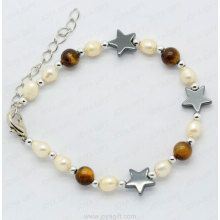 hematite bracelet with tigereye and pearl