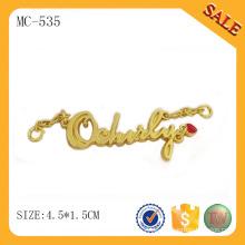 MC535 Goldfarben-Buchstaben-Hang-Tag-Design, Metall-Namensschild für Kleidung / Tasche