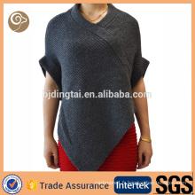 Femmes mode tricoté en gros poncho en cachemire