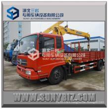 Dongfeng Tianjin 4X2 Truck Mounted Crane 4000 Kg, 4 Ton Fold Boom Truck Crane