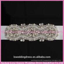 LB0003 Quality fabric best handmade High end appliqued pearl and rhinestone strip for wedding belt 2015