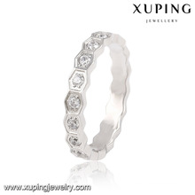 13871 Fashion Pretty CZ Round Silver-Plated Stainless Steel Jewelry Finger Ring for Women