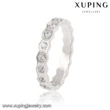 13871 Moda Pretty CZ Rodada de Prata-Banhado Aço Inoxidável Jóias Anel de Dedo para As Mulheres
