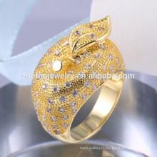 CZ Micro Pave Réglage bijoux en argent 925 couronne en argent sterling bague plaqué bague en argent 18k