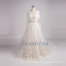 Real photos 2017 newest style lace pearls tulle wedding dress