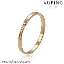 14168 Xuping joyería de imitación simple al por mayor Ambiental de cobre llano 18k chapado en oro anillo diseños