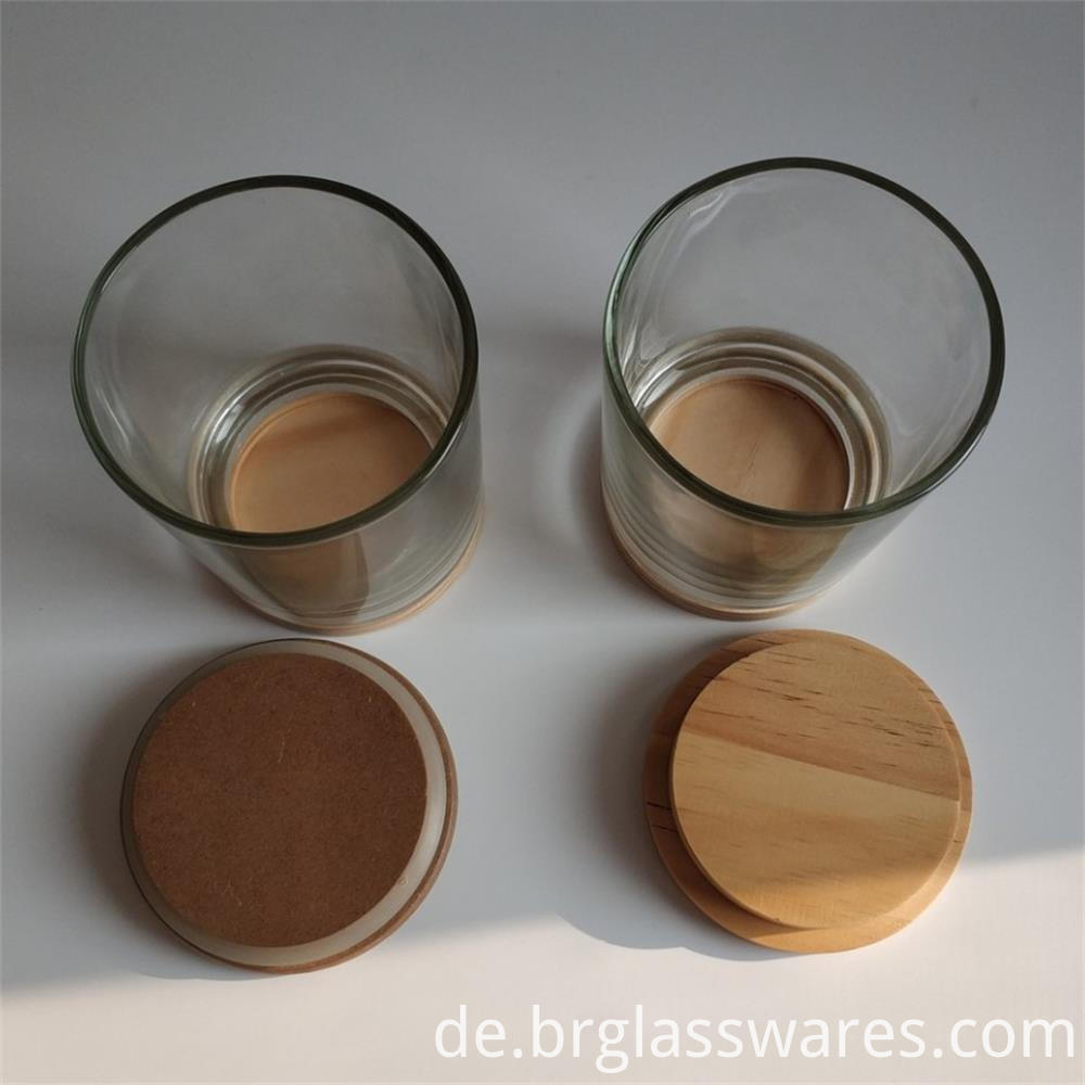 wooden top and wooden bottom glass candle jar2