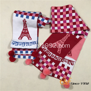 Children Knitting Multicolor Plaid Jacquard Scarf