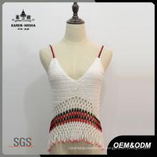 Frauen Boho V-Ausschnitt Sexy Slip Crochet Tops