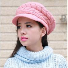 Senhora moda lã acrílico tricotado inverno quente vestido boné (yky3130)