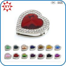 Colgadores de bolsos de diamantes de imitación en forma de corazón de colores