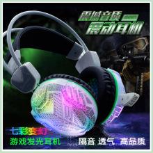 Auriculares estéreo del juego de la venda del USB 3.5mm con el micrófono (K-15)