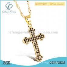 Colar de cruz de mulheres, ouro fino colar cruz laterais