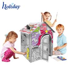 Bébé de peinture personnalisée jouant la maison de jouet de carton