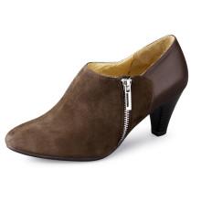 Chunky Heel Femmes Chaussures avec fermeture éclair No Colar