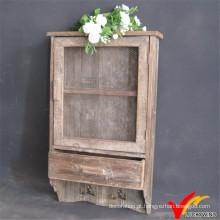 Antigo Porta Decorativa Mesh Porta de Madeira Armário com Ganchos