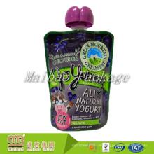 Custom Design Wiederverwendbare Nachfüllbare Kunststoff Kinder Squeeze Lebensmittelverpackungsauslauf Selbst gemachte Joghurt Beutel mit Düse