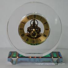 Round Crystal Quartz Clock with Rainbow Base for House Decor