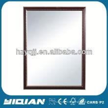Espelho de moldura de madeira com prateleira de vidro temperado Lavatório Plástico Retângulo Espelho Quente Venda Moldura de madeira Espelho de casa de banho