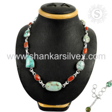 Magnificent Koralle & Türkis Edelstein Silber Halskette Großhandel 925 Sterling Silber Schmuck indischen Schmuck