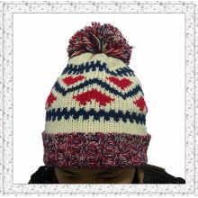 Плетение трикотажной шапочки-шапочки с флисовой внутренней шляпой для девочек (1-3469)