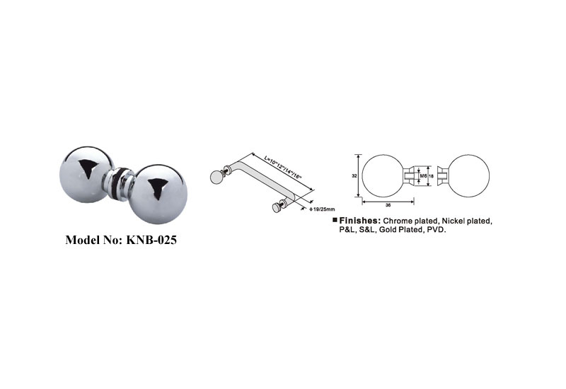 Stainless Steel Ball Knob For Glass Door B