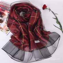 New spring and summer double plaid imitated silk scarf shawl ladies 70% pashmina 30% silk scarf