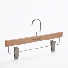 Beech wooden clothes pants hanger with clips skirts hanger for display